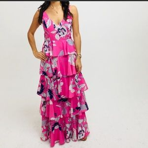 Yumi Kim tiered silk maxi dress